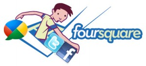 Foursquare - Google Buzz - Twitter and Facebook